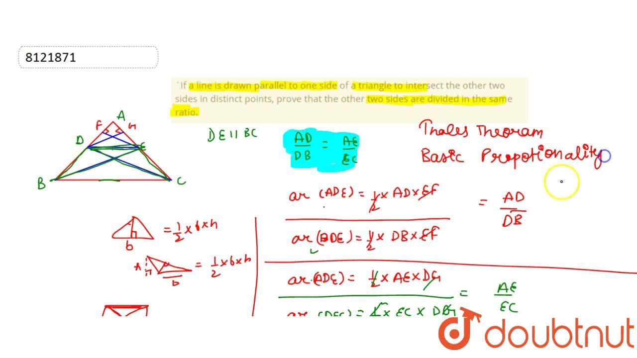 Solution for If a line is drawn to one side of a triangle to i
