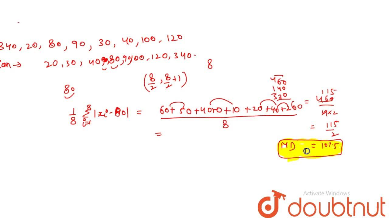 Solution for Mean deviation for ungrouped data or Individual da
