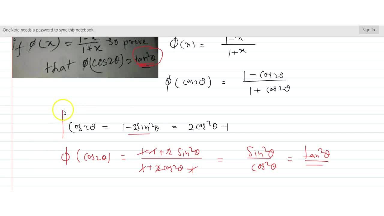 Solution for if f(x)=(1-x),(1+x) then prove that f(cos2theta