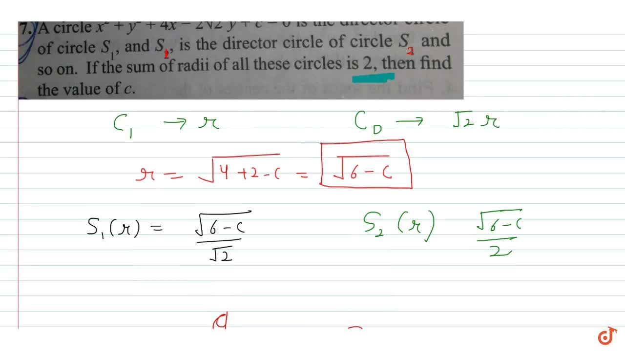 Solution for A circle x^2 +y^2 + 4x-2sqrt2 y + c = 0 is the d