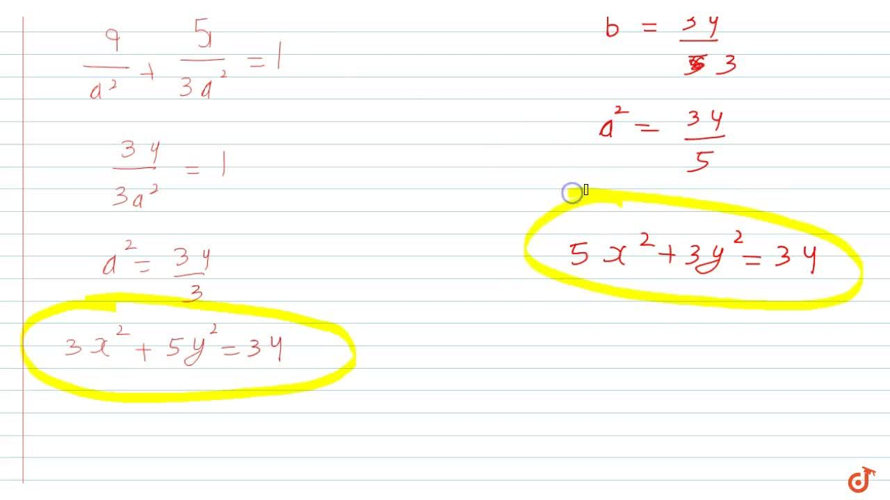 Solution for Equation of the ellipse with centre at origin, pas