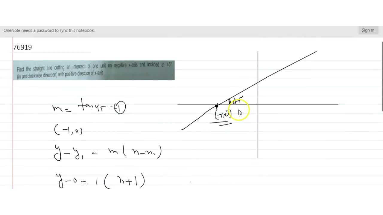 Solution for Find the straight line cutting an intercept of one