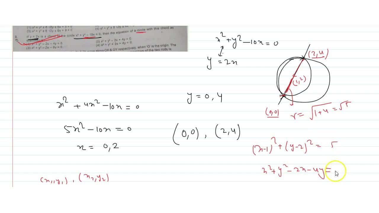 Solution for   y=2x is a chord of the circle x^2 + y^2-10x =