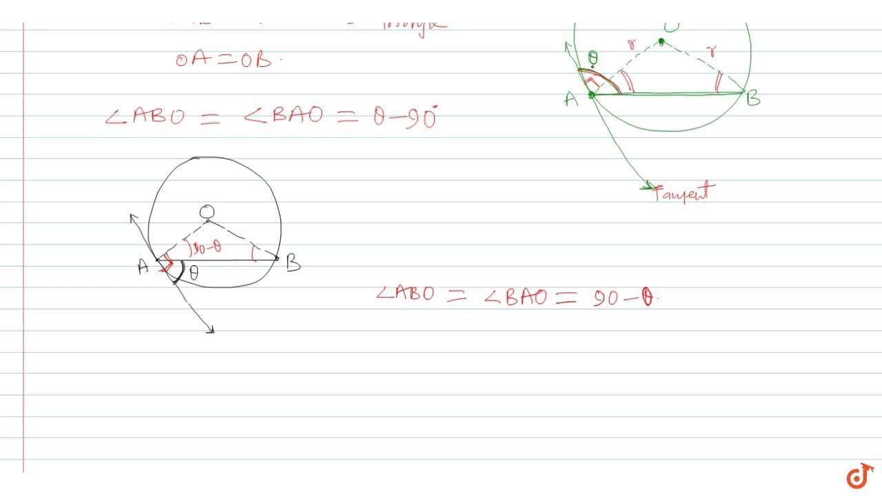 Solution for The chord AB of a circle of centre o subtends an a