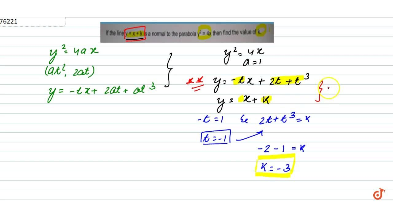 Solution for If the line y = x + k is a normal to the parabol