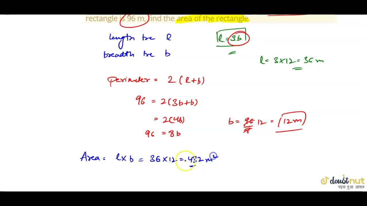 Solution for  The length of a rectangle is three times its brea