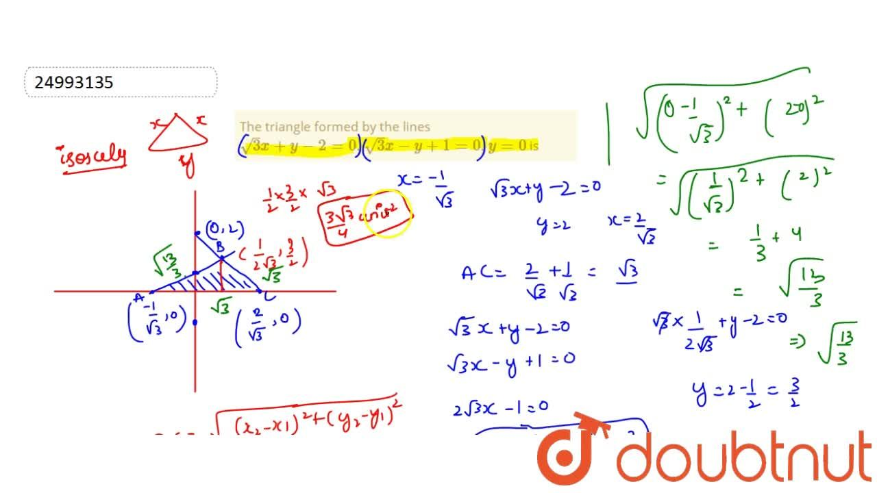 Solution for The triangle formed by the lines sqrt3x+y-2=0,sqr