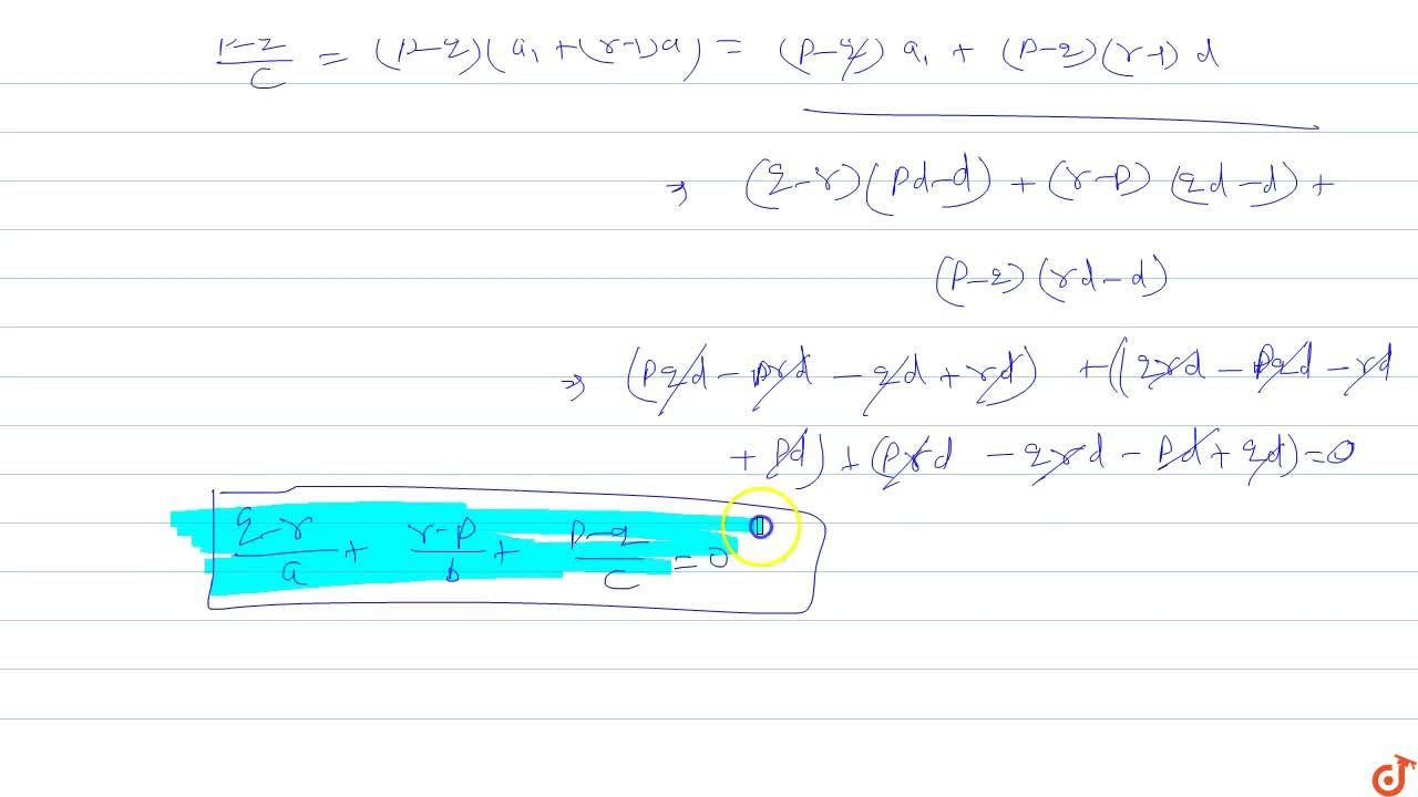 Solution for If the p^(th),q^(th) and r^(th) terms of a H.P