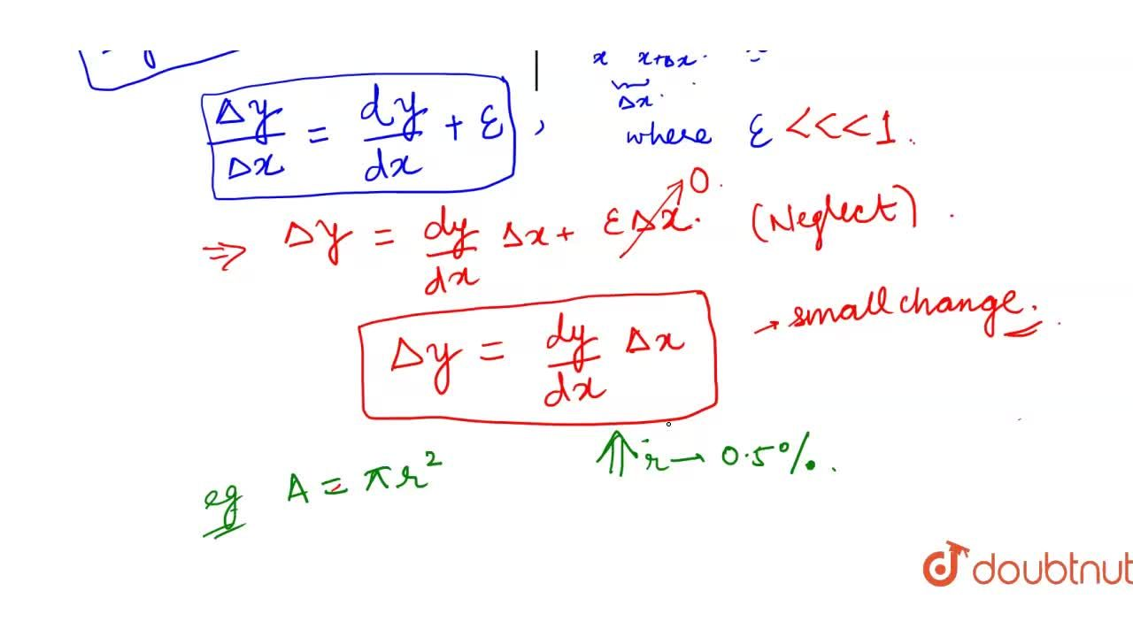 Differentials definitions (in terms of small change) and examples