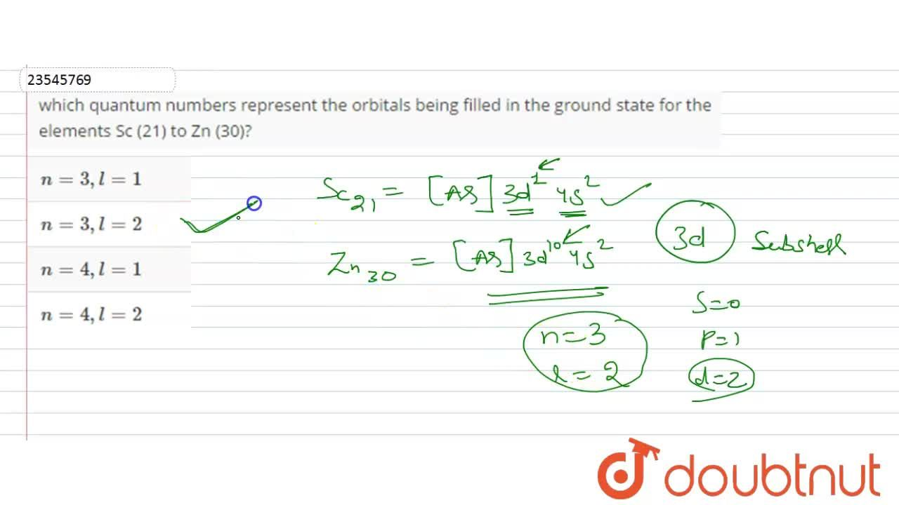 Solution for which quantum numbers represent the orbitals being