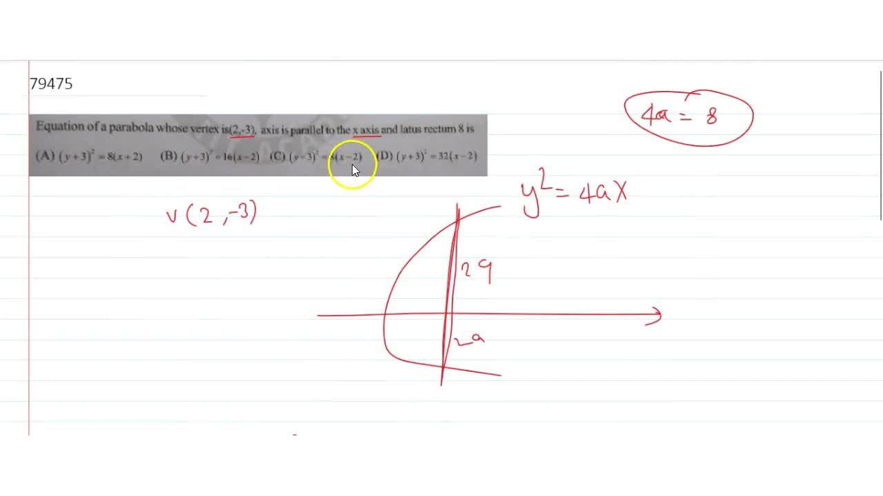 Solution for Equation of a parabola whose vertex is  (2,-3),