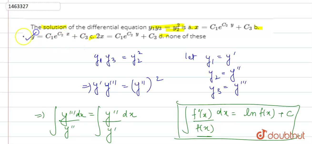 Solution for The solution of the differential equation y_1y_3=