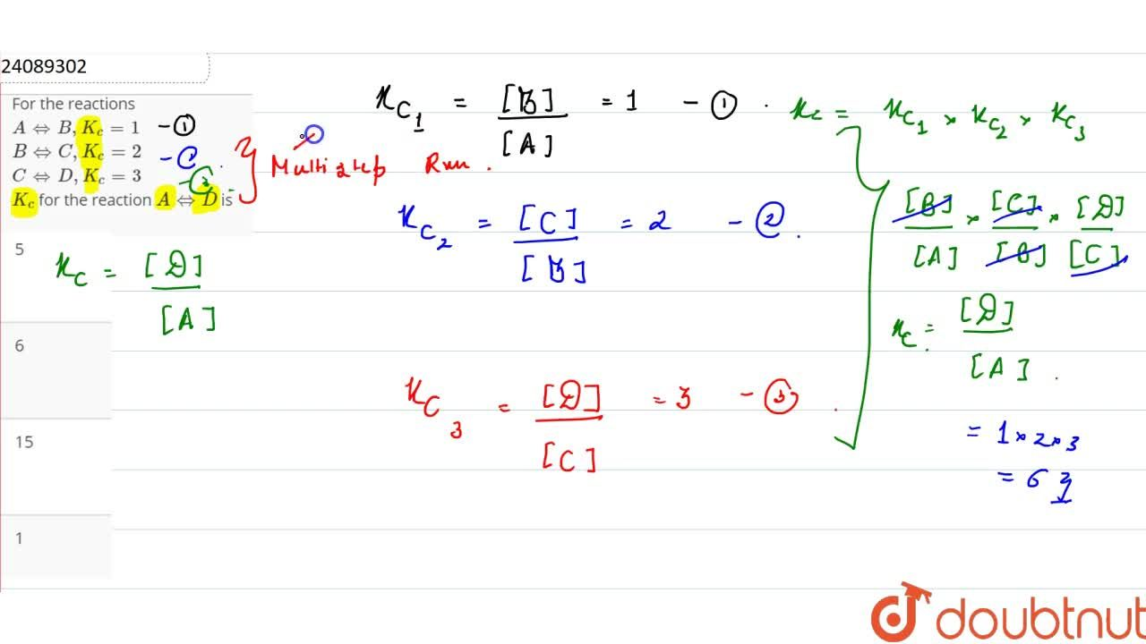 Solution for For the reactions <br> A hArr B, K_(c ) =1 <br>