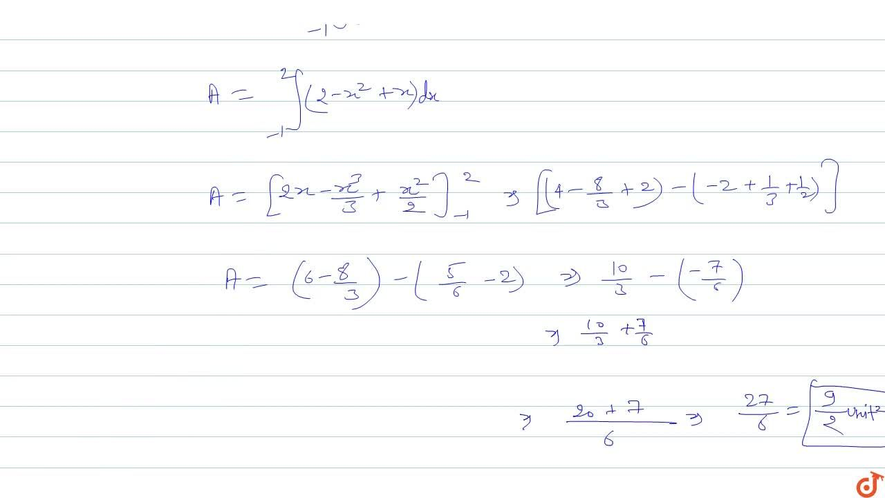 Solution for Find the area bounded by the parabola  y = 2-x^2
