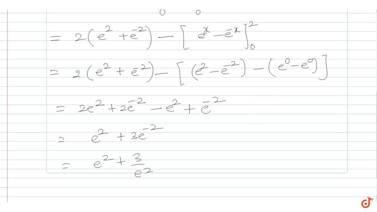 The area enclosed by the curve  y = xe^-x and y-xe^x with x=2 is :
