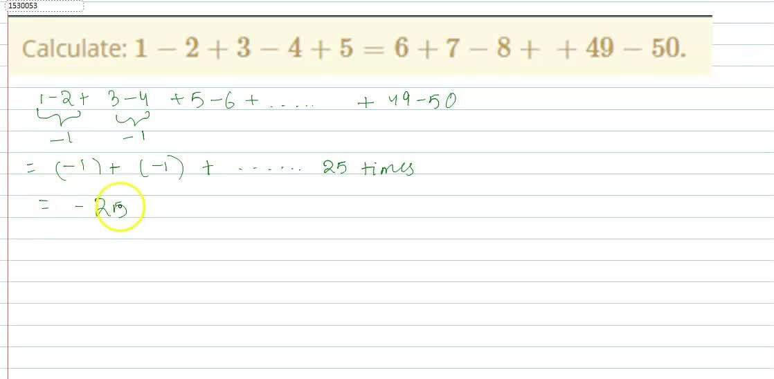 Solution for Calculate:   1-2+3-4+5=6+7-8++49-50.