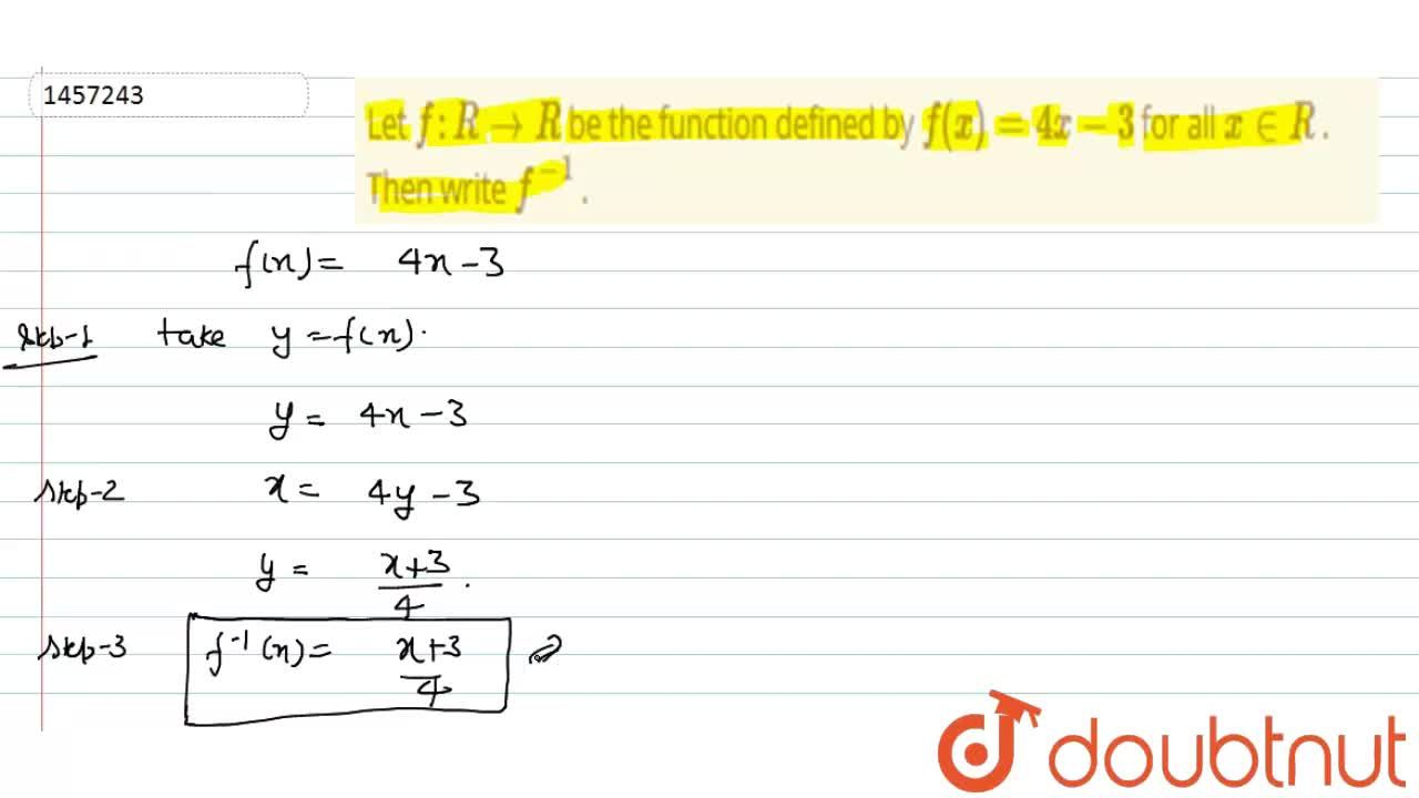 Let f: R->R be the function defined by f(x)=4x-3 for all x in  R . Then write f^(-1) .