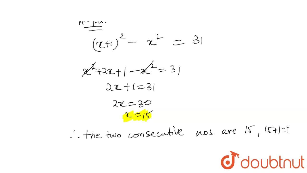 Solution for The difference between   the squares of two conse