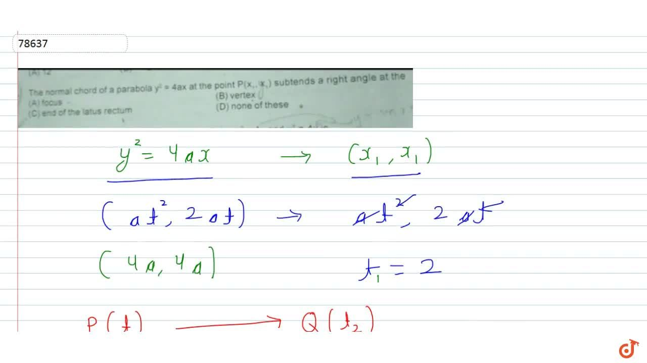 Solution for The normal chord of a parabola  y^2= 4ax at the