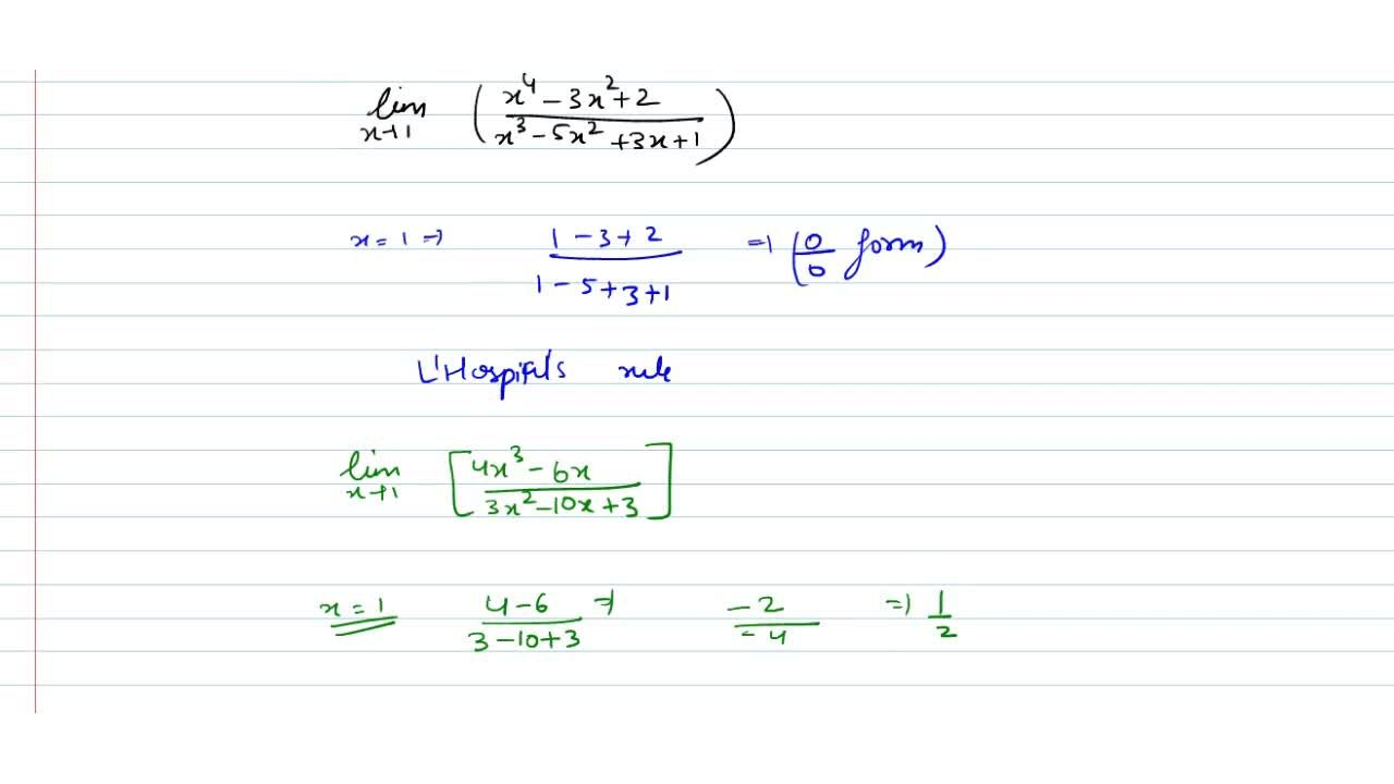 Solution for lim_(x->1) ((x^4-3x^2+2),(x^3-5x^2+3x+1))