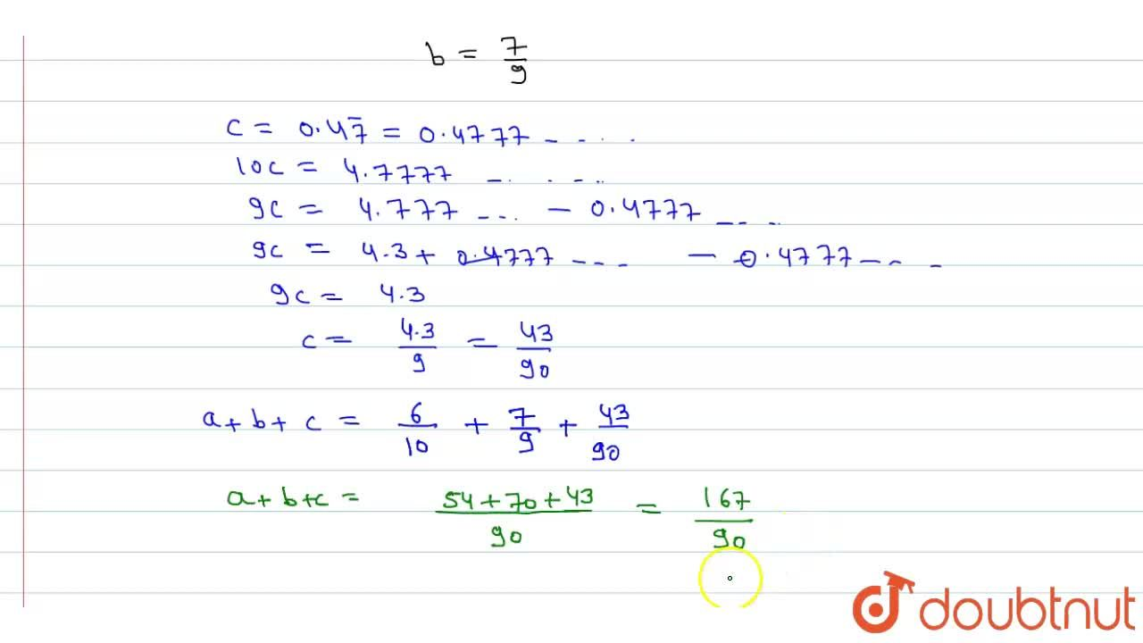 Solution for Express 0.6+0.bar7+0.4bar7 in the form p,q whe