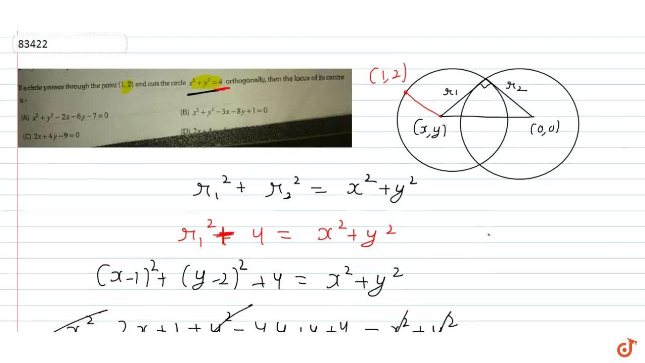 Solution for If a circle Passes through a point (1,2) and cut t