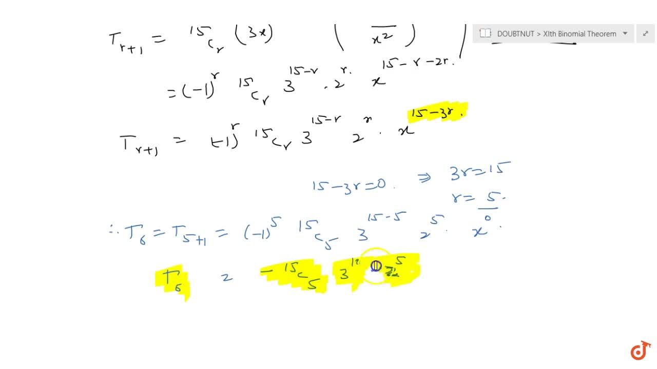 Solution for Find the term independent of x in the expansion