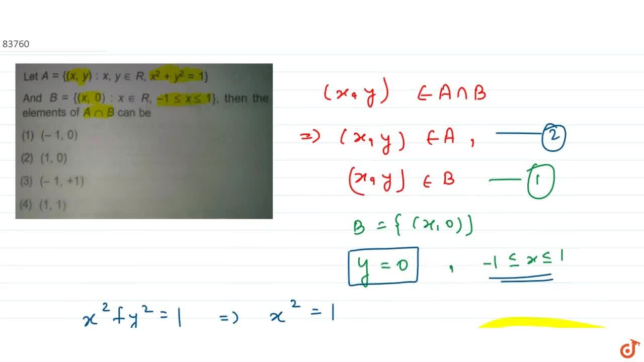 Solution for  Let A = {(x, y) : x, y in R, x^2 + y^2 = 1} and