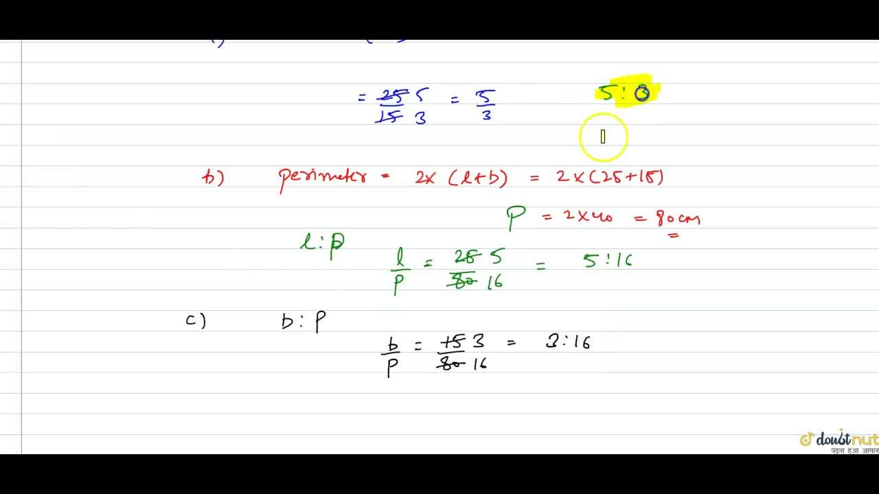 Solution for The length and breadth of a rectangle are 25 cm an