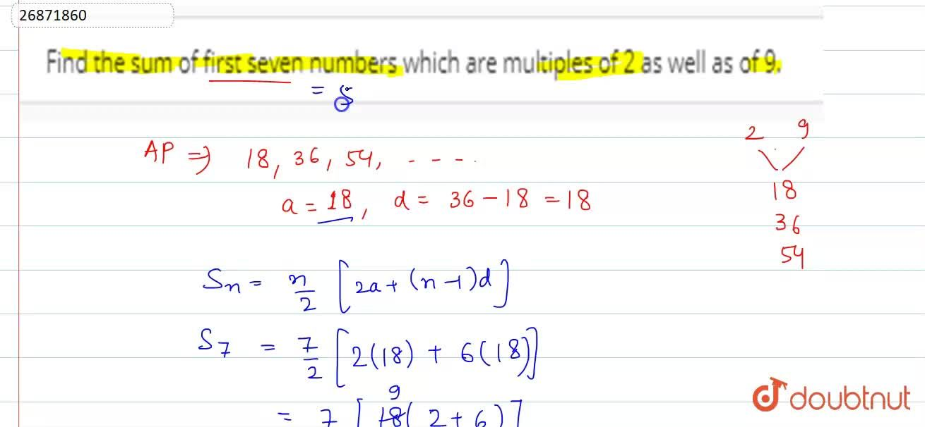 Solution for Find the sum of first seven numbers which are mult