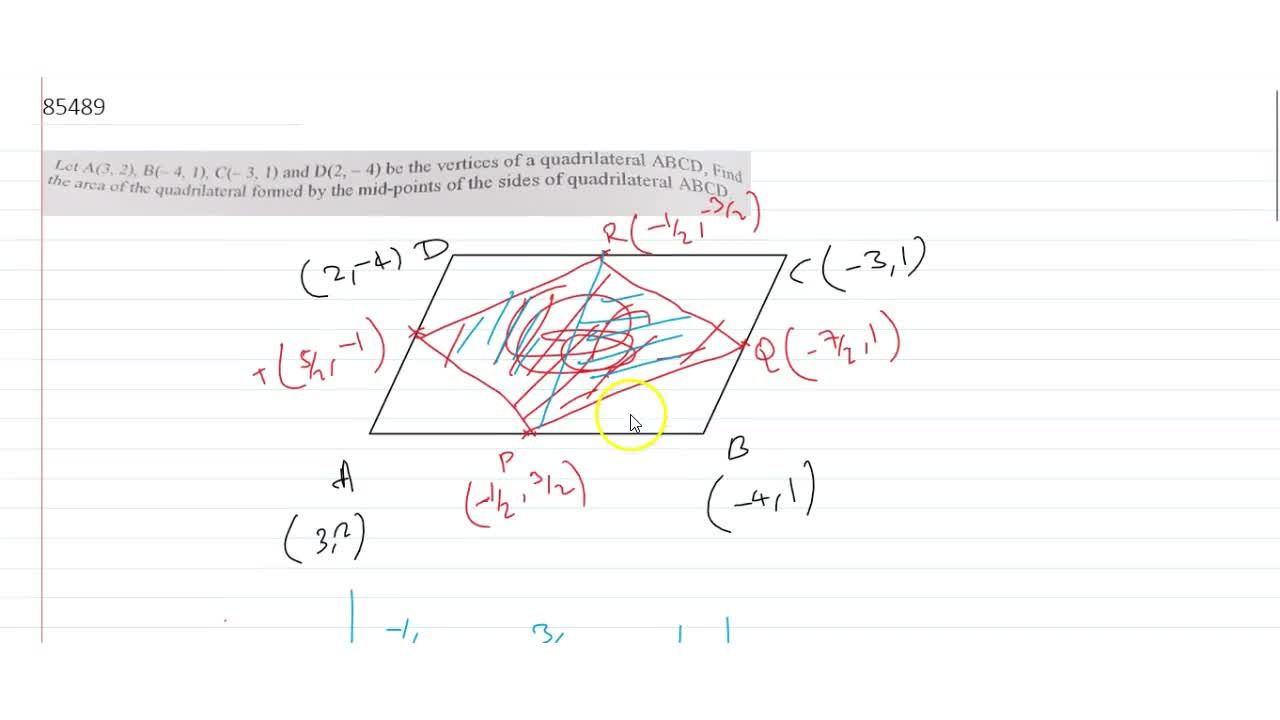 Let A(3, 2), B (3, 2), B(-4, 1), C(3, 1) and D(2, -4) be the vertices of a quadrilateral ABCD CD Find area of the quadrilateral formed by the mid-points of the sides of quadrilatdateral