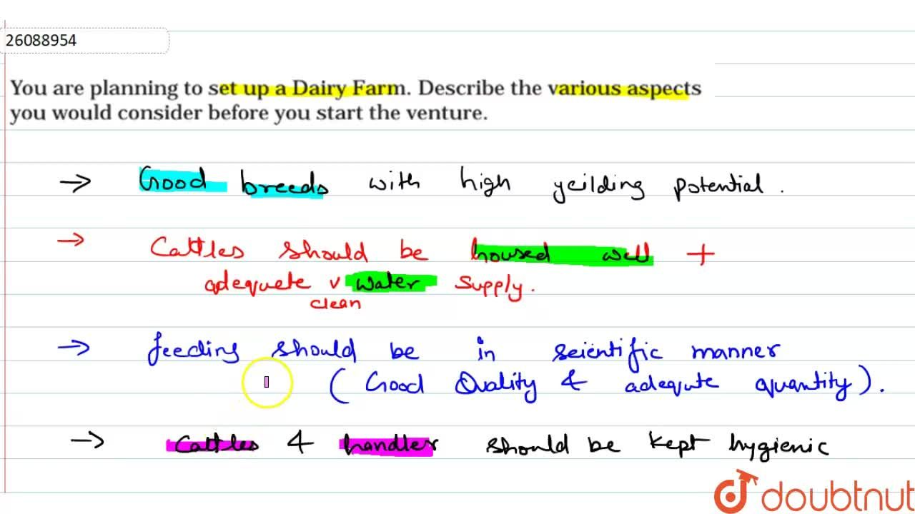Solution for you are  planning  to set up  a dairy farm. Descri