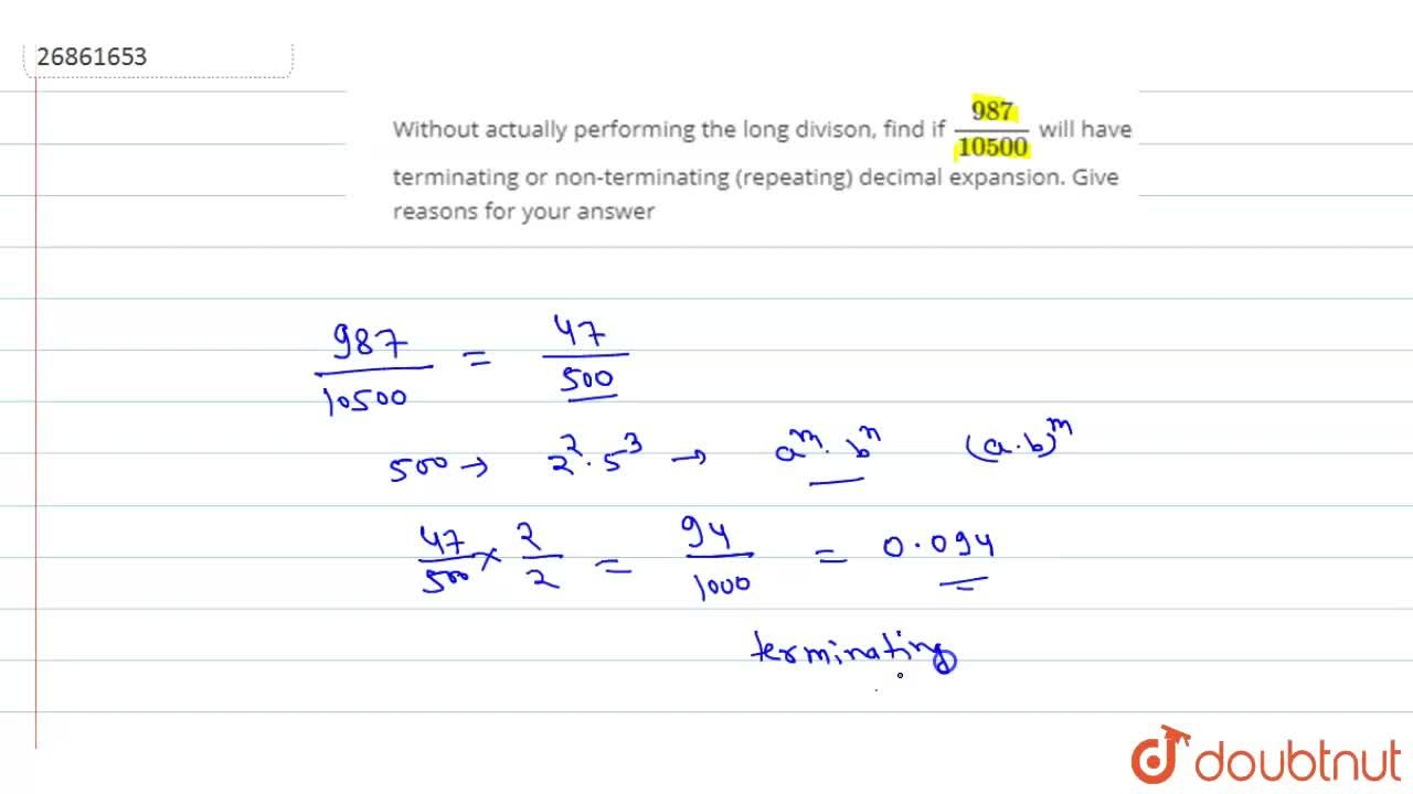 Solution for Without actually performing the long divison, find