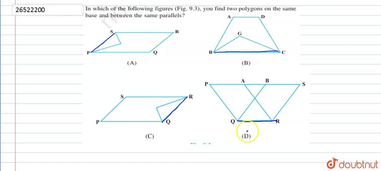 In which of the following figures, you find two polygons on the same base and between the same parallels?
