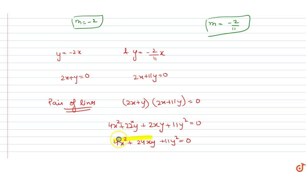 Solution for  Equation of pair of lines passing through origin