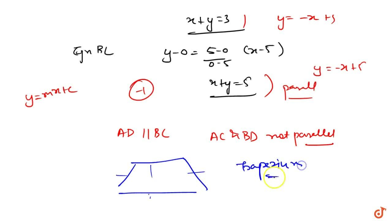 Solution for  If the lines 5x + 3y-15 = 0 and 3x + 5y-15 = 0