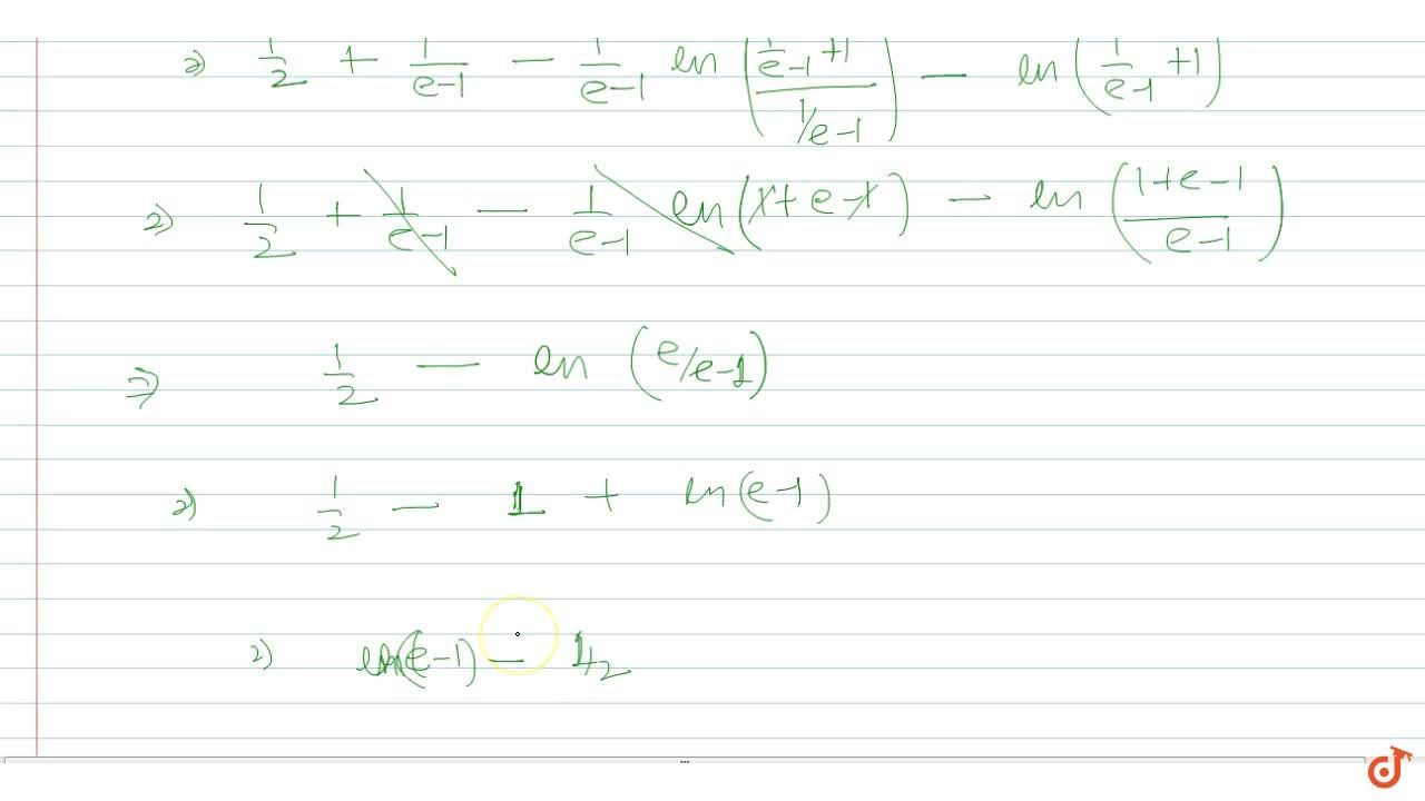 Solution for  Area bounded by  y =  ln(x + )1, y =lnx + 1 and
