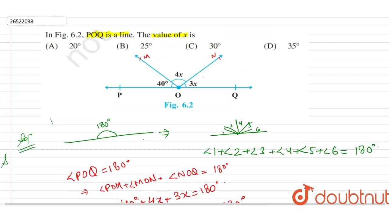 Solution for In the figure, POQ is  a line. The value of x