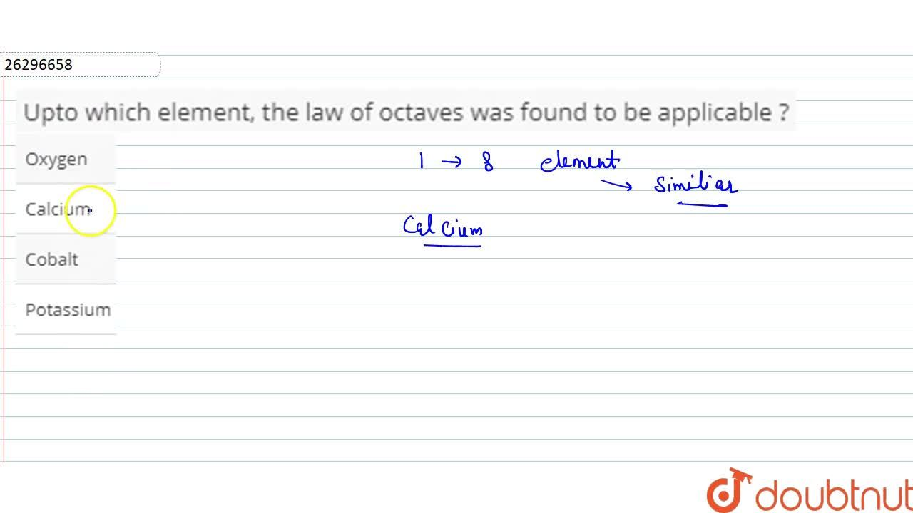 Solution for Upto which element, the law of octaves was found t