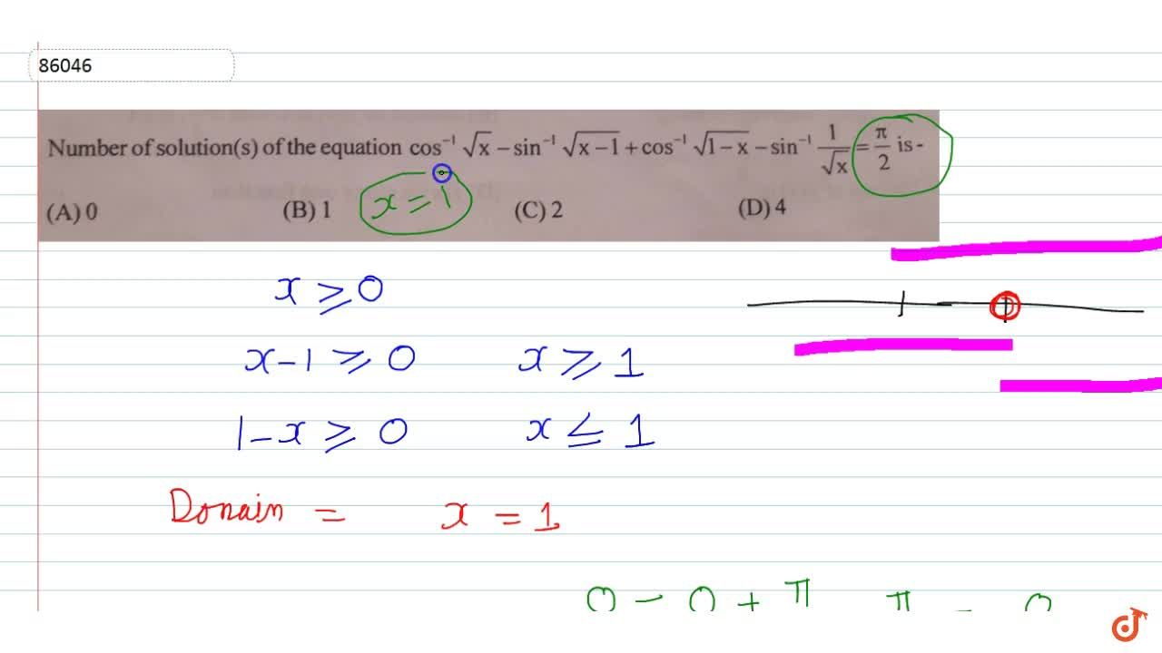 Solution for   Number ofsolution(s) ofthe equation  cos^-1sqrt