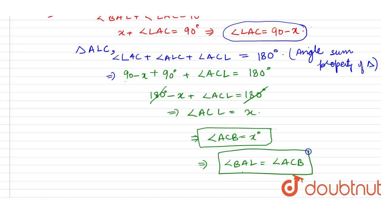 Solution for A Delta ABC is right angled at A. L is a point o