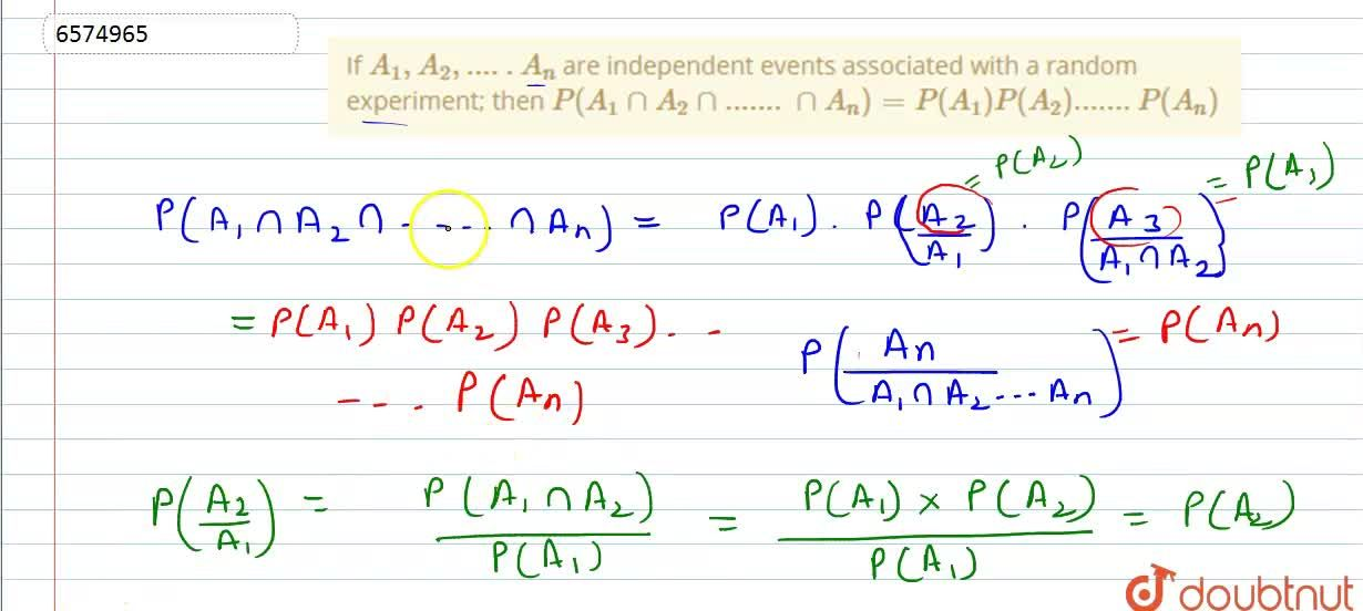 Solution for If A_1, A_2,.....A_n are independent events asso