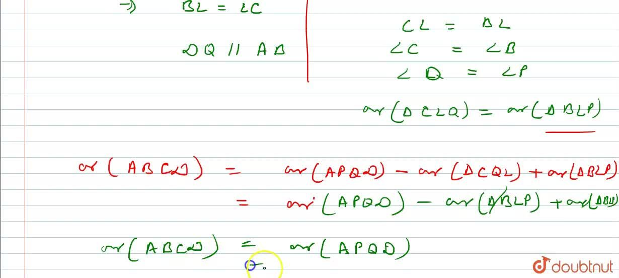 Solution for In trapezium ABCD, AB || DC and L is the mid-poi