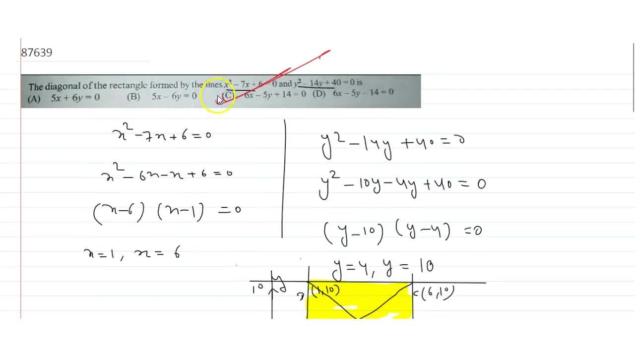 Solution for The diagonal of the rectangle formed by the lines
