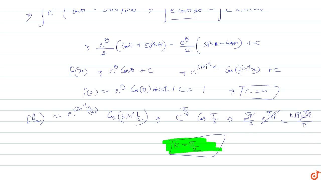 Solution for Let F(x)=inte^(sin^(-1)x)(1-x,sqrt(1-x^2))dx and