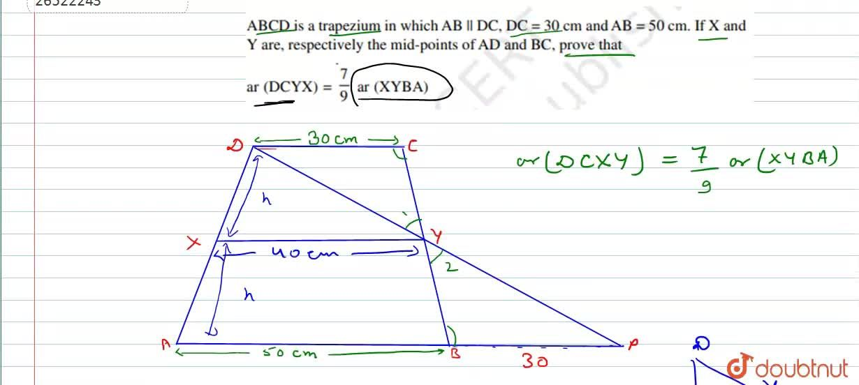 Solution for ABCD is trapezium in which AB||DC, DC = 30 cm an