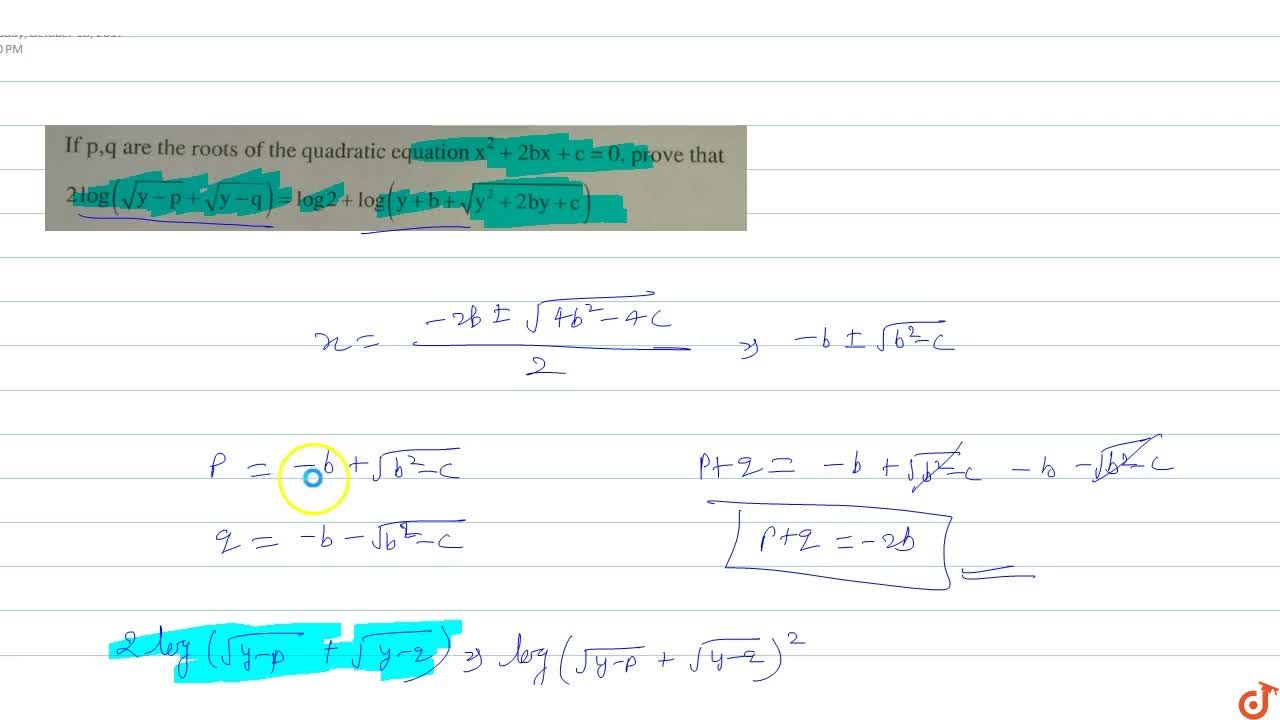 Solution for If  p,q are the roots of the quadratic equation