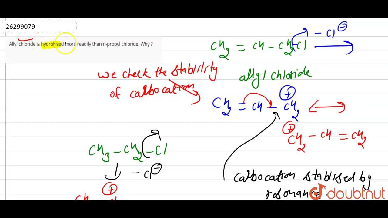 Solution for Allyl chloride is hydrolysed more readily than n-p