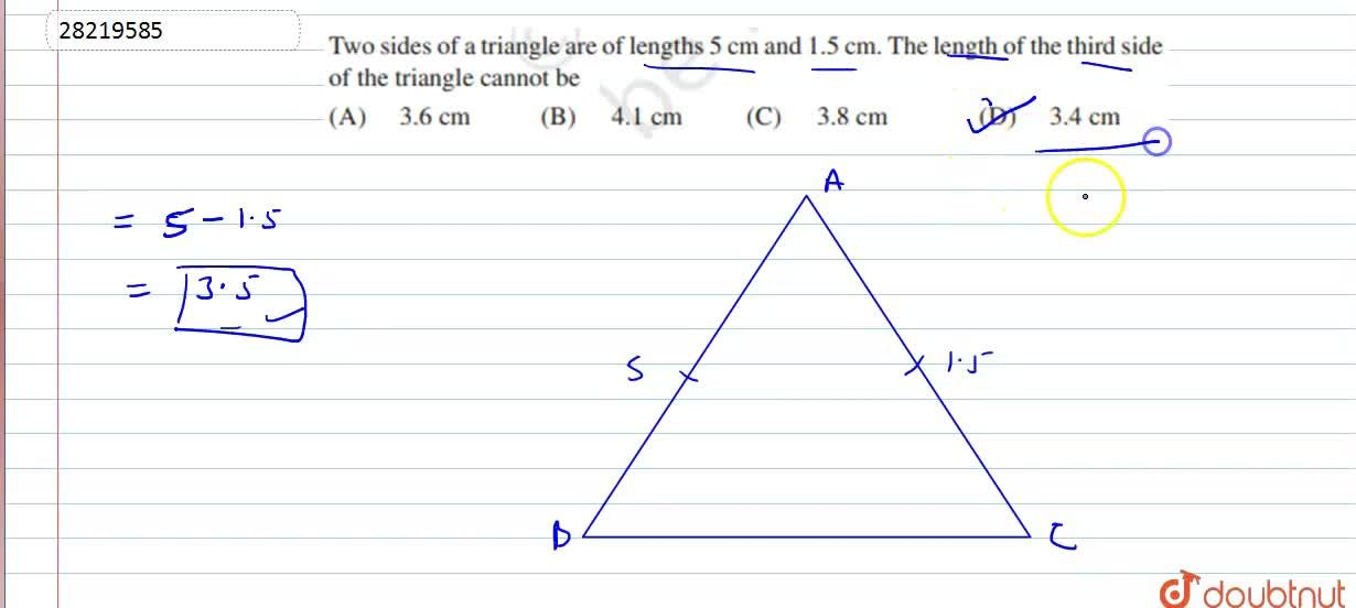 Solution for If two sides of a tringle are of length  5 cm and
