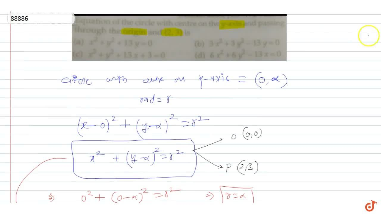 Solution for  Equation of the circle with centre on the y-axis